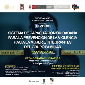 Sistema de capacitación ciudadana para la prevención de la violencia hacia la mujer e integrantes del grupo familiar